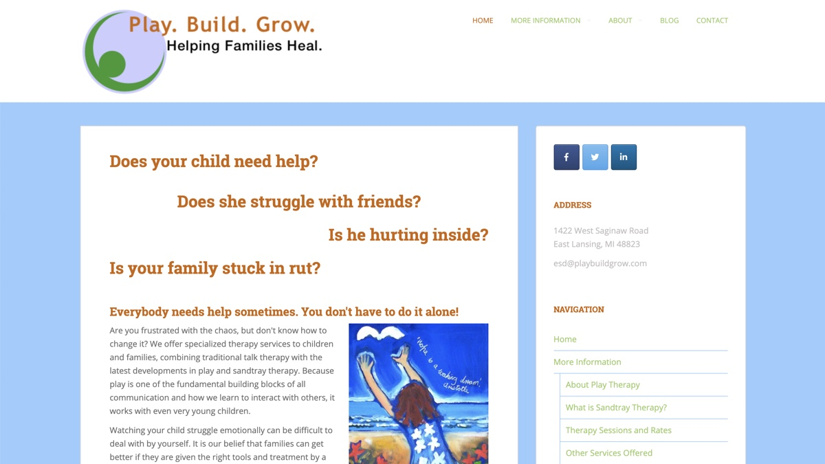 Image of Play Build Grow website